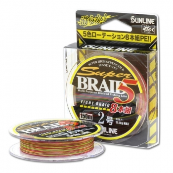 плетеный шнур sunline super brade 5 eight braid 8 multycollor 150м