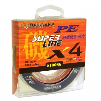 плетеный шнур kosadaka super pe x4 multycollor 150м