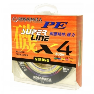 Плетеный шнур Kosadaka Super PE X4 Multycollor 300м